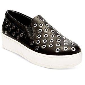 Steve Madden Belit Grommets Black Slip On Sneakers